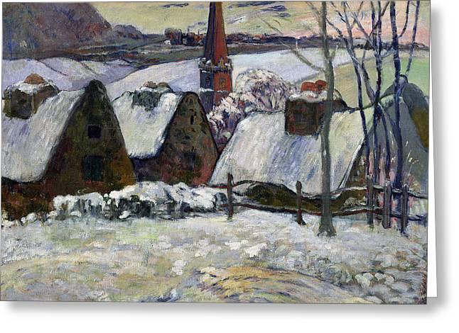 Breton Greeting Cards - Breton village under snow Greeting Card by Paul Gauguin