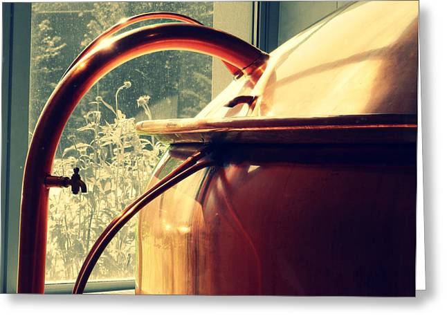 Making Beer Greeting Cards - Brewing Kettle Greeting Card by Rashelle Brown