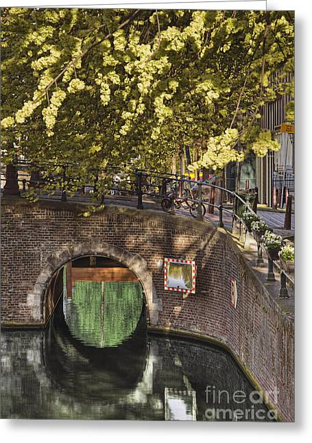 Crossing Over Greeting Cards - Brick Bridge Over Canal Greeting Card by Andersen Ross