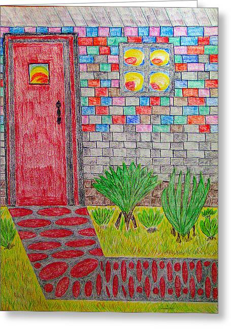 Stepping Stones Mixed Media Greeting Cards - Brick House Greeting Card by Robyn Louisell