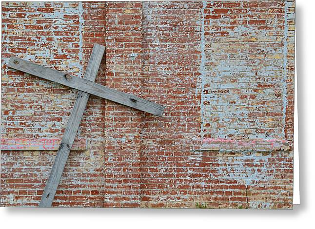 Tilted Greeting Cards - Brick Wall Cross Greeting Card by Nikki Marie Smith