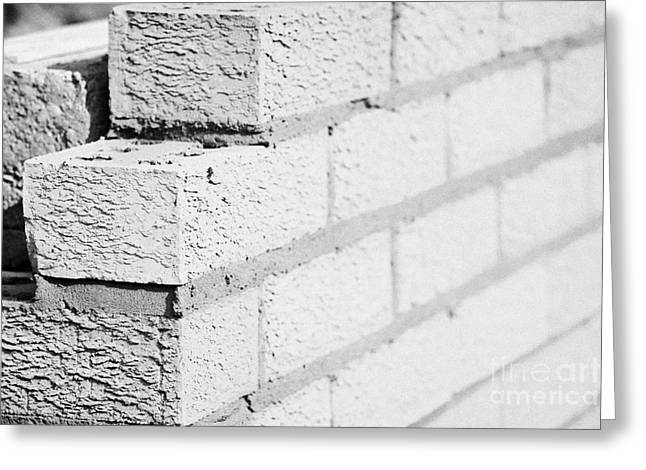 Newly Greeting Cards - Bricklaying Wall Red House Bricks Facing Half Cement Breeze Blocks Building A Block Retaining Wall Greeting Card by Joe Fox