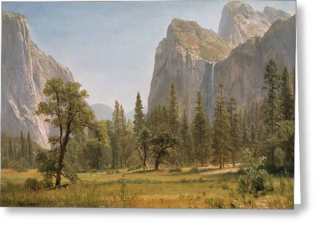 Picturesque Greeting Cards - Bridal Veil Falls Yosemite Valley California Greeting Card by Albert Bierstadt