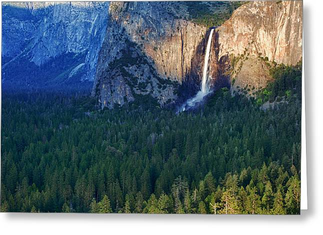 Bridalveil Falls Greeting Cards - Bridalveil Falls in the Spotlight Greeting Card by Rick Berk