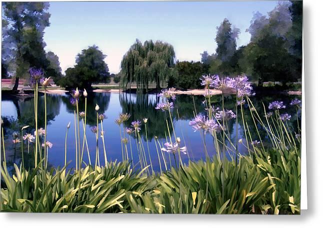 African Lily Greeting Cards - Briddlewood Vineyards Pond Greeting Card by Kurt Van Wagner