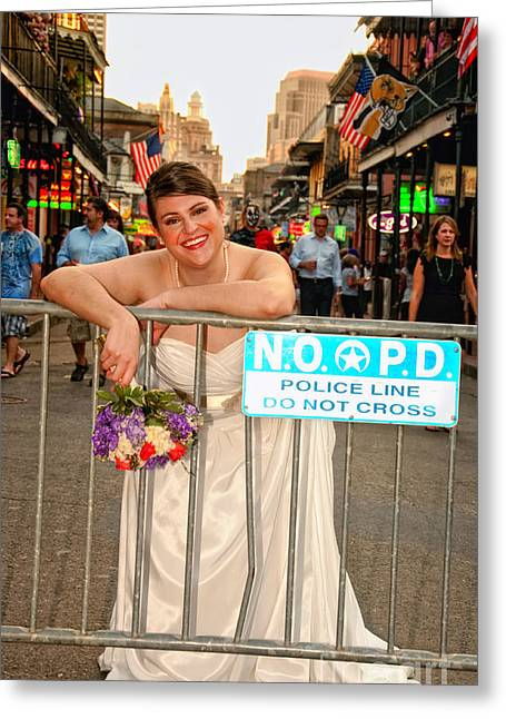 Bride And The Barricade On Bourbon Street Greeting Card by Kathleen K Parker