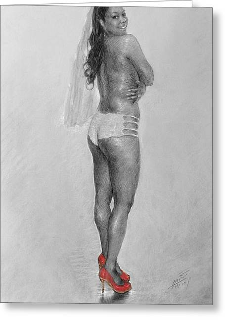 Nude Pastels Greeting Cards - Bride in Red Heels Greeting Card by Ylli Haruni