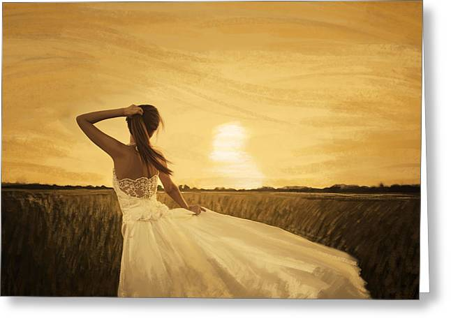 Adult Pastels Greeting Cards - Bride In Yellow Field On Sunset  Greeting Card by Setsiri Silapasuwanchai