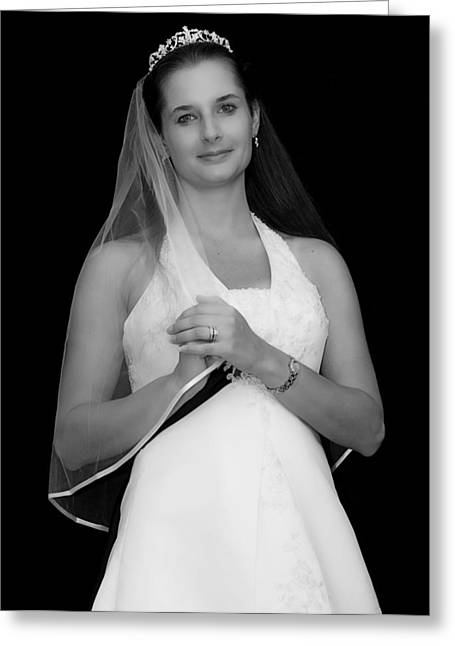 Custom Person Portrait Greeting Cards - Bride n Black and White Greeting Card by Malania Hammer