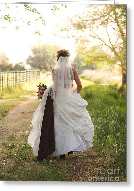 Vertical Greeting Cards - Bride on Country Road Greeting Card by Cindy Singleton