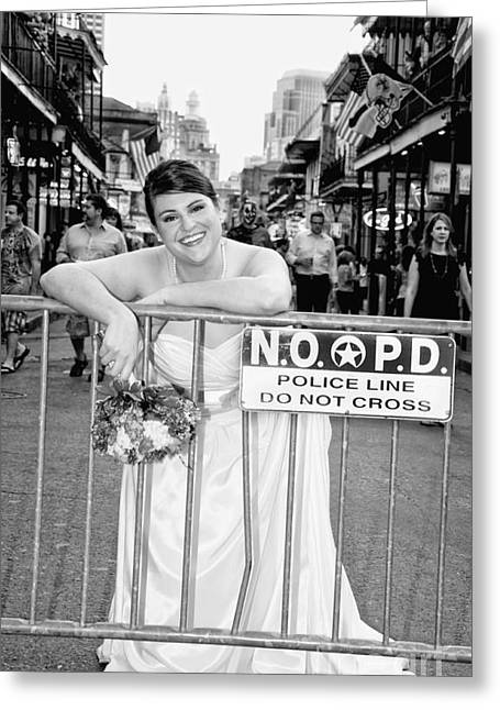 Evening Dress Digital Art Greeting Cards - Bride on the Barricade on Bourbon St NOLA Greeting Card by Kathleen K Parker