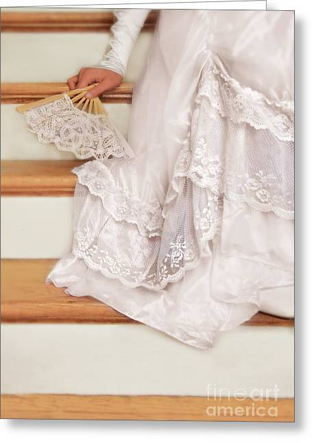 Bride Sitting On Stairs With Lace Fan Greeting Card by Jill Battaglia