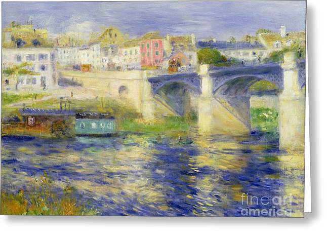 Daily Life Scene Greeting Cards - Bridge at Chatou Greeting Card by Pierre Auguste Renoir