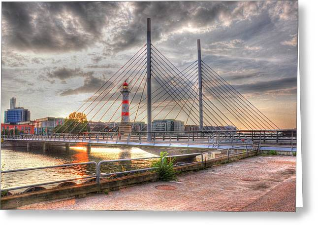 Village By The Sea Greeting Cards - Bridge Greeting Card by Barry R Jones Jr