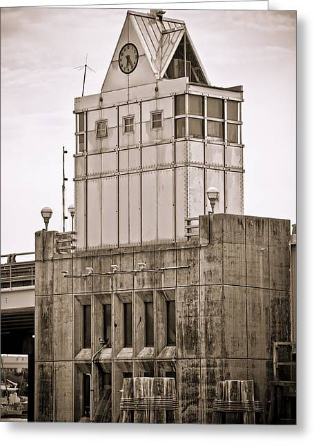 Donny Greeting Cards - Bridge Control Tower Greeting Card by Donni Mac