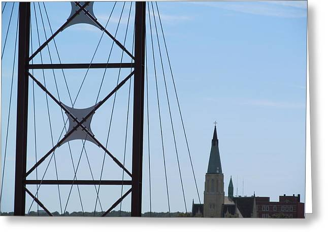 Bridge Fortress Greeting Card by Tina M Wenger