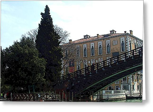 Sienna Italy Digital Art Greeting Cards - Bridge in Venice Greeting Card by Mindy Newman