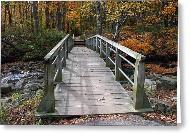 Stream Digital Art Greeting Cards - Bridge Into Autumn Greeting Card by Kay Novy