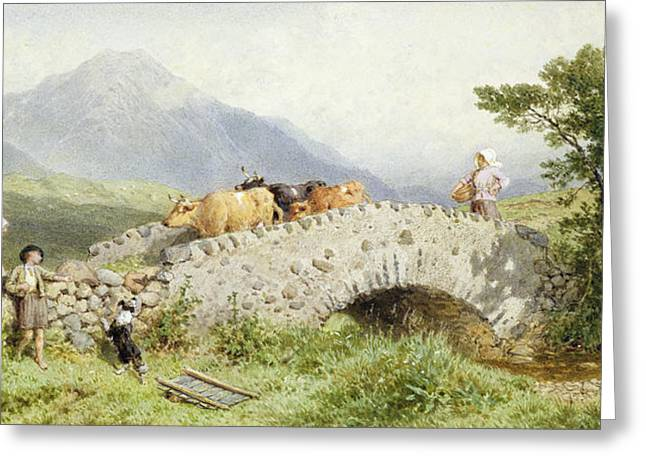 Steer Paintings Greeting Cards - Bridge Near Dalmally Greeting Card by Myles Birket Foster