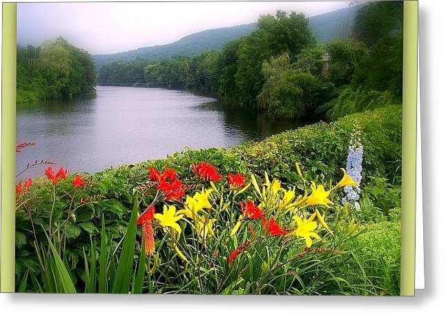 Shelburne Greeting Cards - Bridge of Flowers Greeting Card by Linda Galok