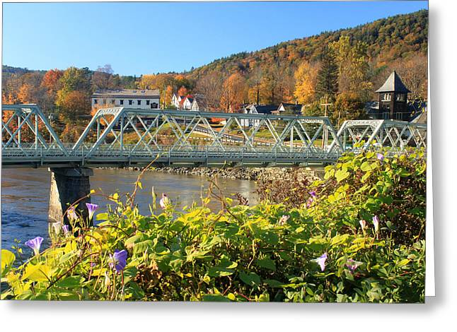 Bridge Of Flowers Morning Glory Autumn Greeting Card by John Burk