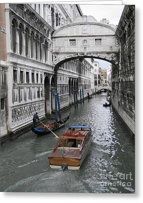 Gondolier Greeting Cards - Bridge of sights. Venice Greeting Card by Bernard Jaubert