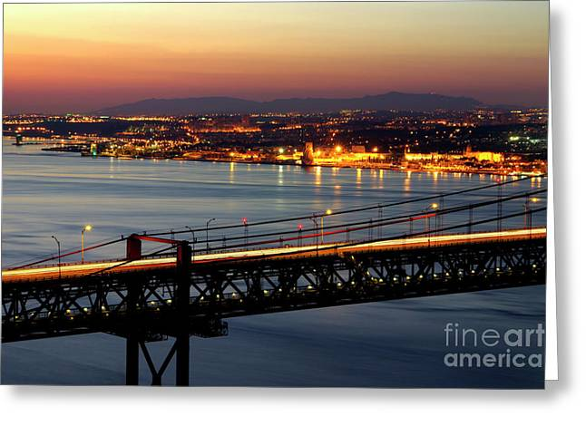 Historic Architecture Greeting Cards - Bridge Over Tagus Greeting Card by Carlos Caetano