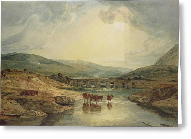 River Scenes Paintings Greeting Cards - Bridge over the Usk Greeting Card by Joseph Mallord William Turner
