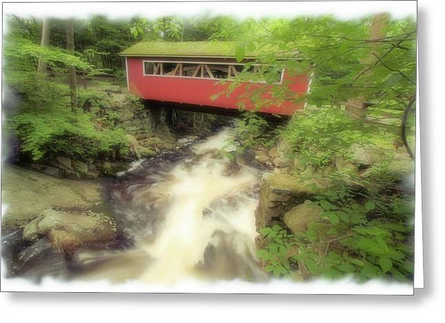 Connecticut Covered Bridge Greeting Cards - Bridge Over Troubled Water Greeting Card by Karol  Livote