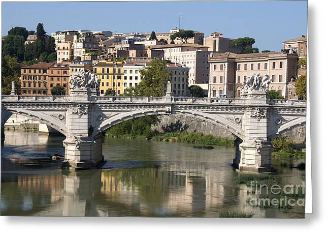 City Buildings Greeting Cards - Bridge Ponte Vittorio II. River Tiber.Rome Greeting Card by Bernard Jaubert