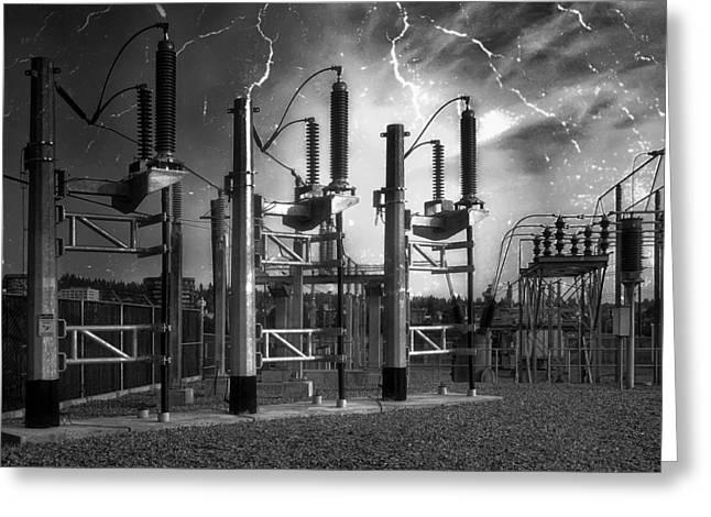 Ohms Greeting Cards - Bridge St Power Substation 2 - Spokane Washington Greeting Card by Daniel Hagerman