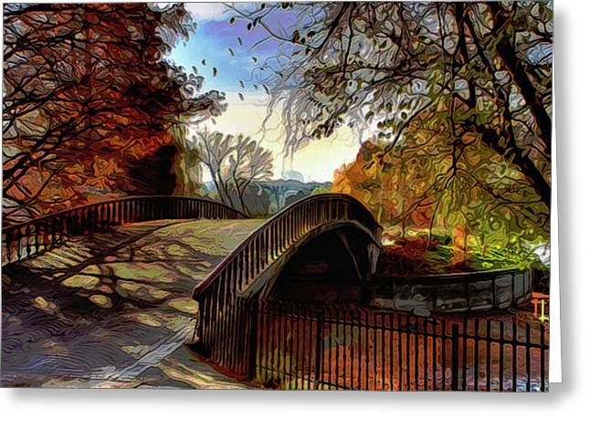 Fall Grass Mixed Media Greeting Cards - Bridge to Autumns Beauty Greeting Card by  Fli Art