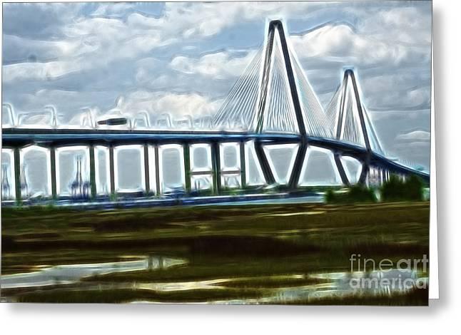 Bridge To Charleston Greeting Card by Darleen Stry