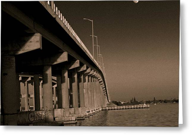 Bridge To The Moon Greeting Card by Roger Wedegis