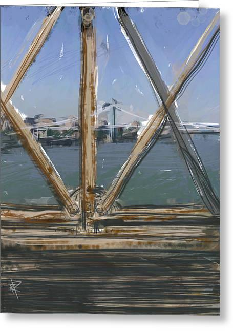 Rusted Cars Mixed Media Greeting Cards - Bridge View Greeting Card by Russell Pierce