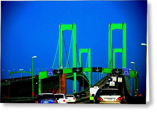 Times Square Pyrography Greeting Cards - Bridges 1X2010B Greeting Card by Fareeha Khawaja