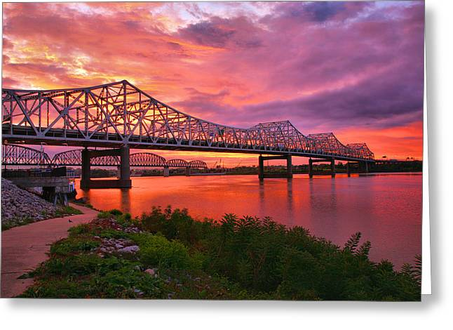 Railroad Bridge Greeting Cards - Bridges At Sunrise II Greeting Card by Steven Ainsworth