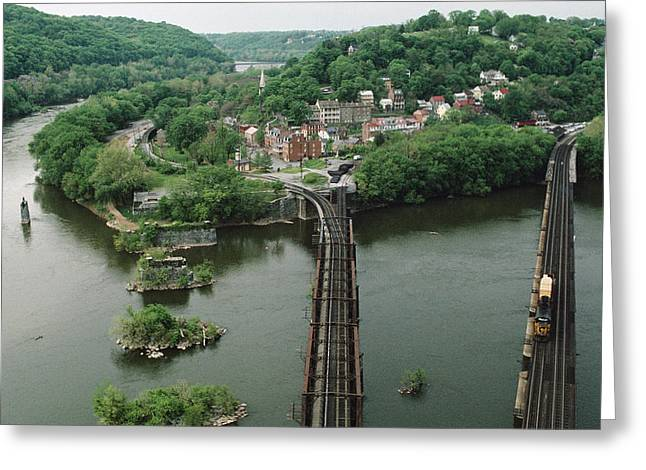 Harpers Ferry Greeting Cards - Bridges At The Confluence Greeting Card by Joel Sartore