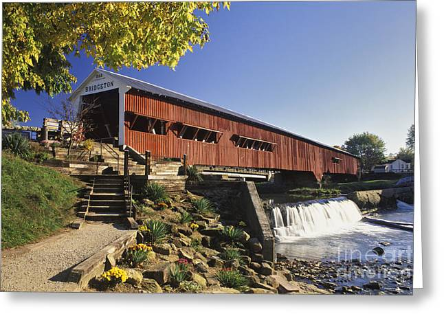 Bridgeton Covered Bridge Greeting Cards - Bridgeton Covered Bridge - FM000064 Greeting Card by Daniel Dempster