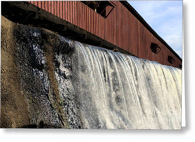 Indiana Autumn Greeting Cards - Bridgeton Covered Bridge and Waterfall no 1 Greeting Card by Alan Look