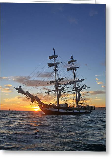 Masts Greeting Cards - Brig at Sunset Greeting Card by Cliff Wassmann