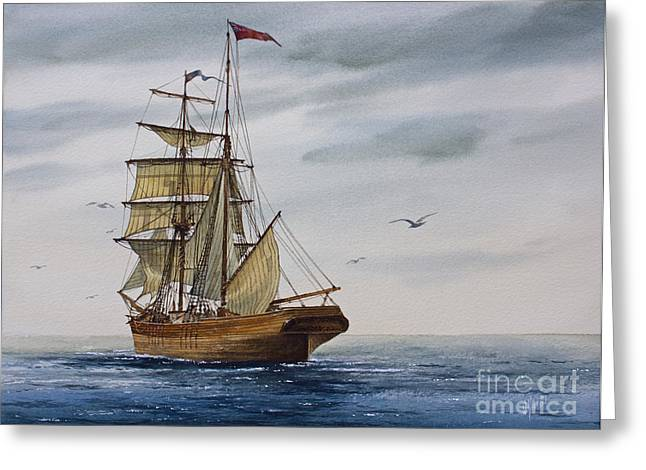 Sailing Ship Framed Prints Greeting Cards - Brigantine Making Sail Greeting Card by James Williamson