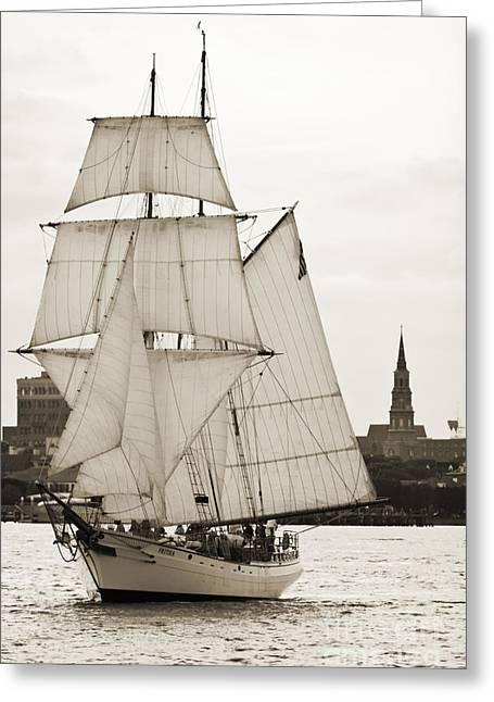 Charleston Greeting Cards - Brigantine Tallship Fritha Sailing Charleston Harbor Greeting Card by Dustin K Ryan