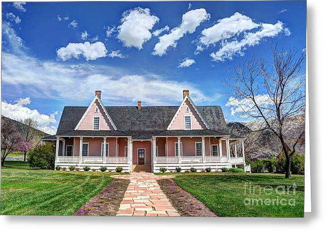 Covered Porch Greeting Cards - Brigham Young Forest Farm Home Greeting Card by Gary Whitton
