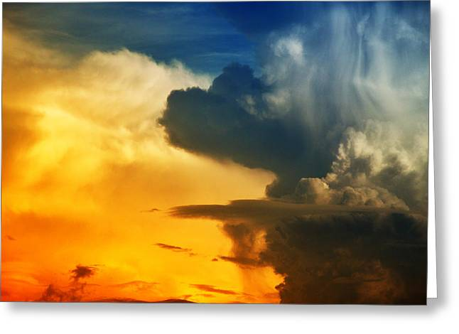 Bright And Dark Clouds Looks Like Enigmatic Figures In Sky Greeting Card by Nattapon Wongwean