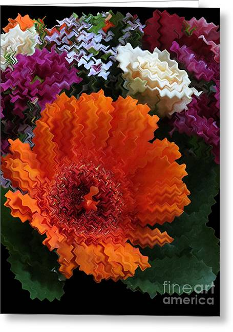 Floral Digital Art Greeting Cards - Bright Bouquet Greeting Card by Vijay Sharon Govender