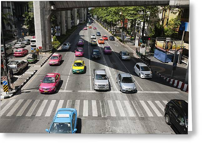 Bright Colored Taxis Mix With Other Greeting Card by Roberto Westbrook