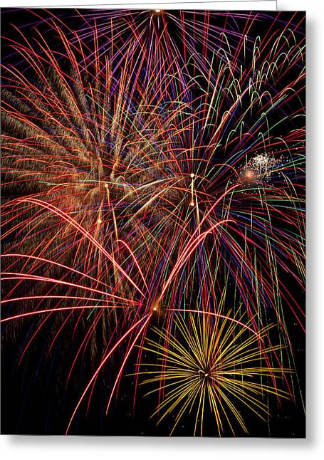Pyrotechnics Greeting Cards - Bright Colorful Fireworks Greeting Card by Garry Gay