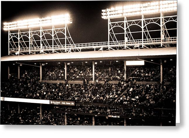 Friendly Confines Greeting Cards - Bright Lights of Wrigley Field Greeting Card by Anthony Doudt
