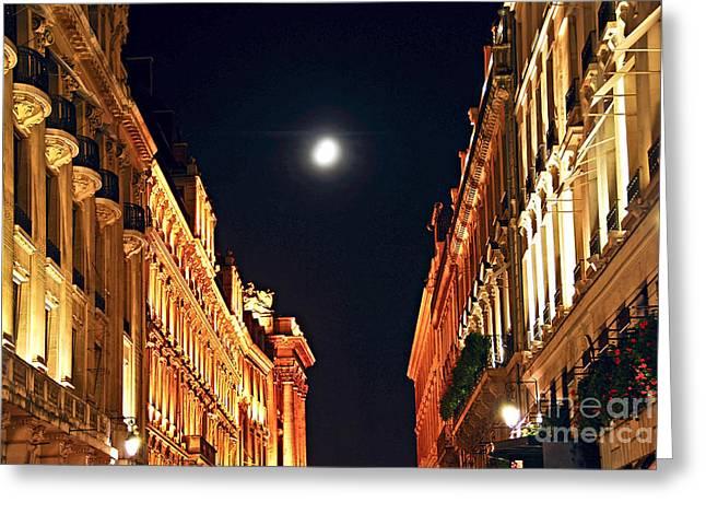 Nightlife Greeting Cards - Bright moon in Paris Greeting Card by Elena Elisseeva
